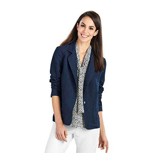 WinterSilks Women's Sandwashed Silk Linen Blazer - L Midnight Navy