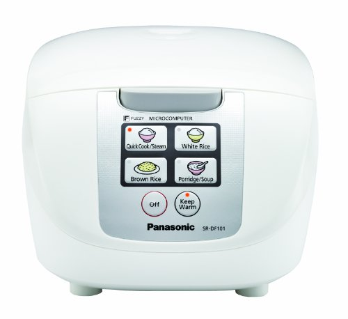 Panasonic 10 Cup (Uncooked) Rice Cooker with Fuzzy Logic and One-Touch Cooking for Brown Rice, White Rice, and Porridge or Soup - 1.8 Liter - SR-DF181 (White)