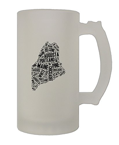 (Maine State Map Fill With Names 16 Oz Frosted Glass Stein Beer Mug)