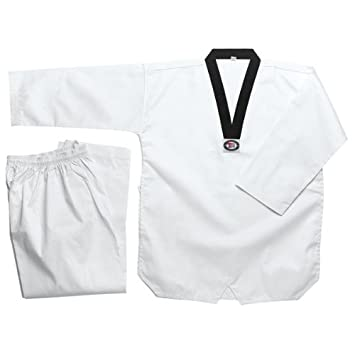 Amazon.com: Blanco Taekwondo Uniforme con solapa Negro: Clothing