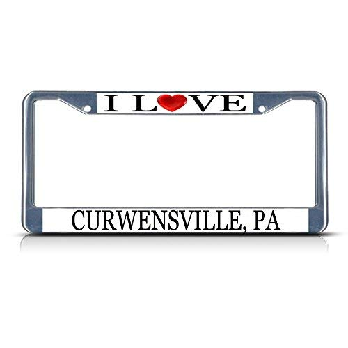 Cukudy Car Auto Tag Holder Chrome I Love Heart Curwensville Pa Aluminum Metal License Plate Frame Silver