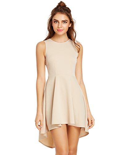 Beige Womens Dress - ROMWE Women's Fit And Flare Sleevless Dress High Low Elegant Swing Dresses Biege S