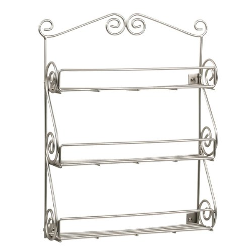 Spectrum Scroll Wall Mount Spice Rack Boxed, Satin Nickel 43778