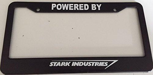 Strawbaru Powered By Stark Industries - Automotive Black License Plate Frame - (House Stark License Plate)