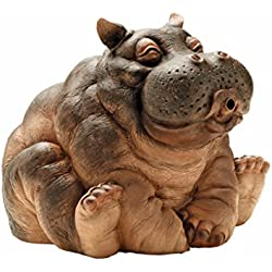 Design Toscano Hanna the Hippo African Decor Piped Pond Spitter Statue Water Feature, 10 Inch, Polyresin, Full Color