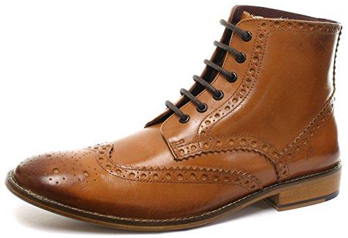 London Brogues Richelieu Gatsby Hi Pelle Uomo Stivali Tan Leather