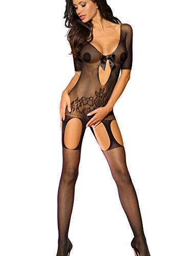 Beauty's Love Sexy Lace See Through Seamless Fishnet Crotchless Bodystocking (Crotchless Bodystocking)