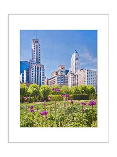 - 5x7 Matted Art Print Millenium Park City Photo with Chicago Skyline