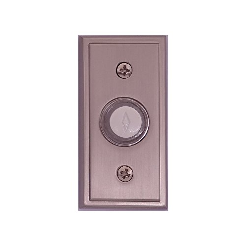 (Atticus Electronics Wired Push Button (3308SN) for Doorbells in Brushed Satin Nickel Finish, Recessed Mount, Halo Lighted)