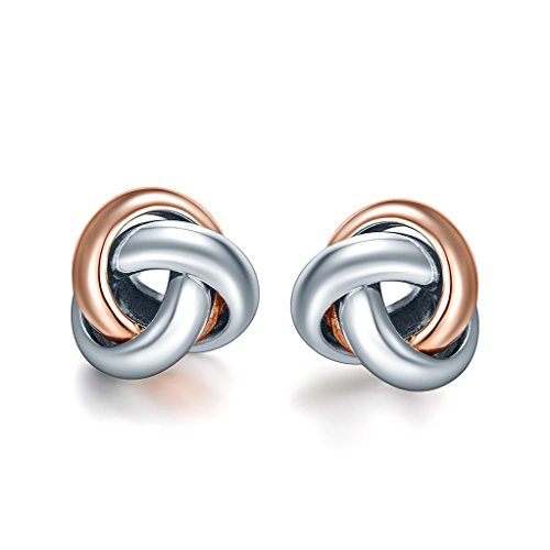 Gold Plated Knot Earrings (SILVERAGE Rose Gold Plated Sterling Silver Two-Tone Love Knot Stud)