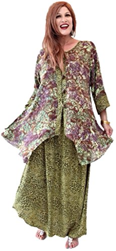 Lotustraders Top Skirt Set Batik Comb Fashion Brown Lime 3X N919
