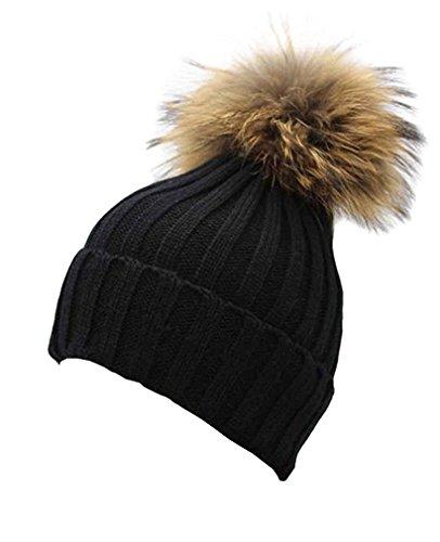Gellwhu Women Winter Real Fur Pom Pom Knit Slouchy Beanie Hat for Men Girls Boys