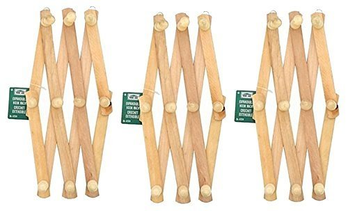 Lot Of 3 - Home-Aide Expandable Hook Wood Wall Peg Rack - Wo