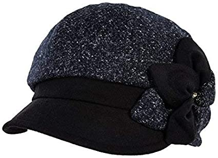 SIGGI - Boina de lana para mujeres - Azul marino - Talla única ...