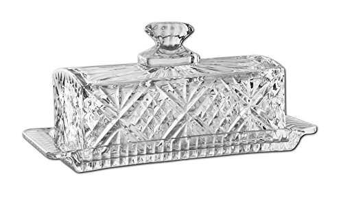 James Scott Crystal Butter Dish with Handled Lid - Covered Butter Keeper