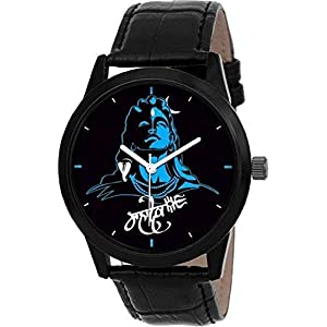 Macron New Arrival Mahadev Analogue Men's Watch God Dial Black Color Leather Strap Stylish Watch for Men & Boys