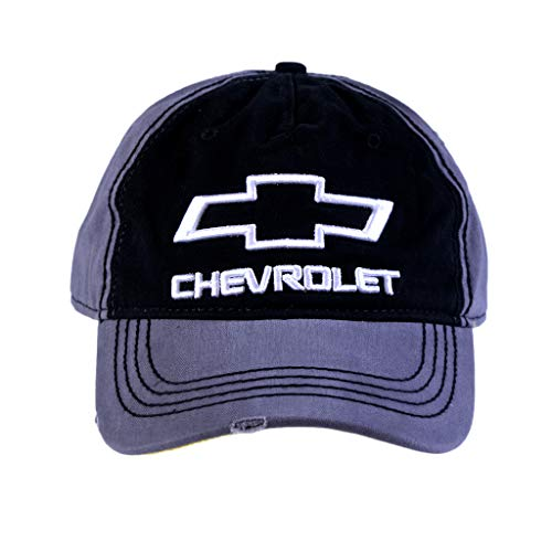 Hat Baseball Chevrolet (Chevy Men's Chevrolet Washed Twill Baseball Cap, 3D Embroidery, Black/Grey, one Size)