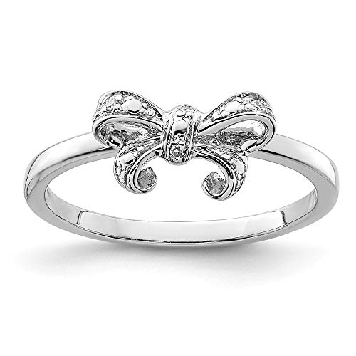 925 Sterling Silver Diamond Bow Band Ring Size 7.00 Fine Jewelry Gifts For Women For Her