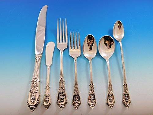 - Rose Point by Wallace Sterling Silver Dinner Size Flatware Set 12 Service 93 Pcs