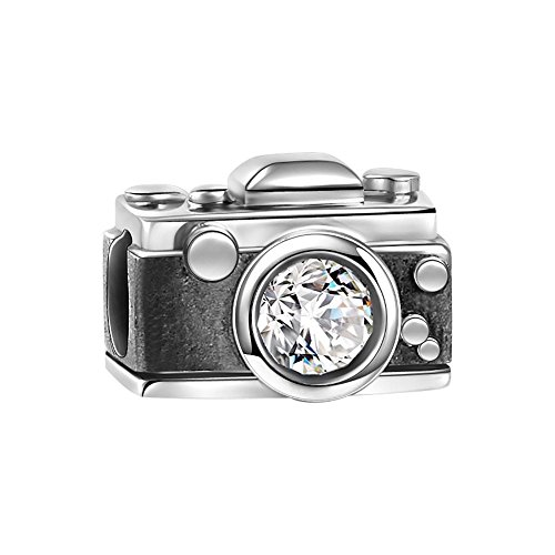 Soufeel Swarovski Crystal Vintage Camera Charm 925 Sterling Silver Fit European (Camera Charm)