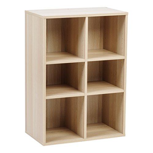 (IRIS USA, Inc. 591857 Wood Shelf, 6-Compartment, Light Brown)