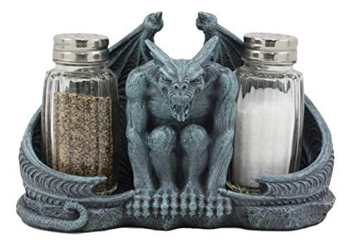Ebros Gothic Abaddon Crouching Winged Gargoyle Salt And Pepper Shakers Holder Figurine Set 6.5