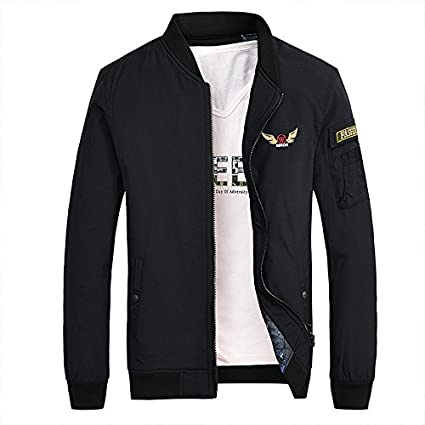Mens jackets thick casual jacket fashion wild cotton dress Warm, black youth pilot ,M
