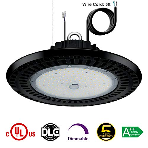 High Bay Led Shop Lights - 100W UFO Dimmable Low Bay Light Fixture (175W-250W Metal Halide Replacement) IP65 Waterproof 5000K Daylight for Warehouse Gym Workshop Factory UL DLC Listed