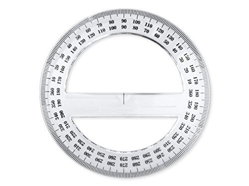 Pack of 24, 360-degree Protractor, 12.5cm (4.92'') Diameter, Crystal Clear by Virginia's Store (Image #2)