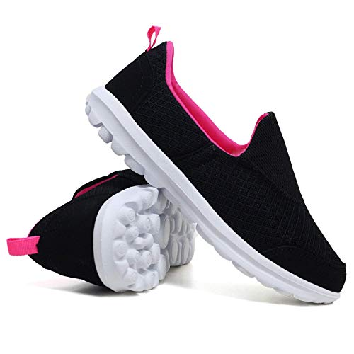 3 nbsp;8 On Ladies Black nbsp;– Flexi Mesh Slip Scarpe Misura Foam Memory Go Pompe Ella pink Ballerine Comfort 1pqZO