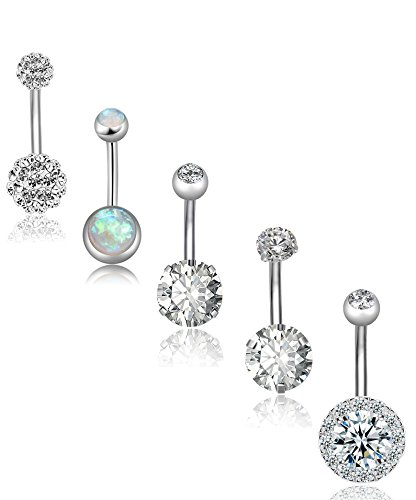 REVOLIA 5Pcs 14G Stainless Steel Belly Button Rings for Women Girls Navel Rings CZ Body - Button Belly 14g