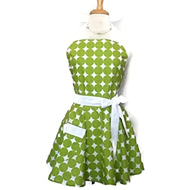 Classic Flirty Apron Green and White Polka Dots with white ties