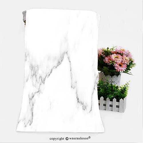VROSELV Cotton Microfiber Bathroom Bath Towel-natural white marble texture for skin tile wallpaper luxurious background picture high resolution Custom pattern of household - House Marble Tile