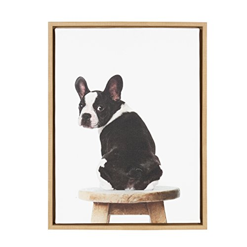 Kate and Laurel - Sylvie Boston Terrier Animal Print Portrait Framed Canvas Wall Art by Amy Peterson, Natural 18x24