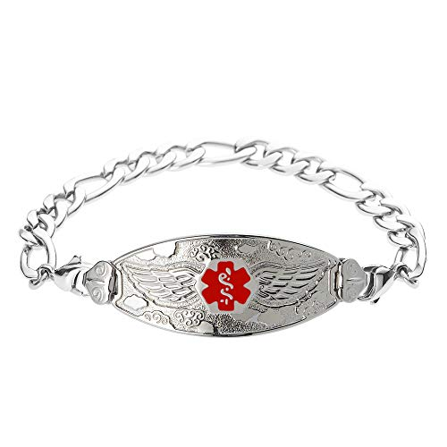 - Divoti Custom Engraved Medical Alert Bracelets for Women, Stainless Steel Medical Bracelet, Medical ID Bracelet w/Free Engraving - Angel Wing Tag w/Figaro-Red-6.0