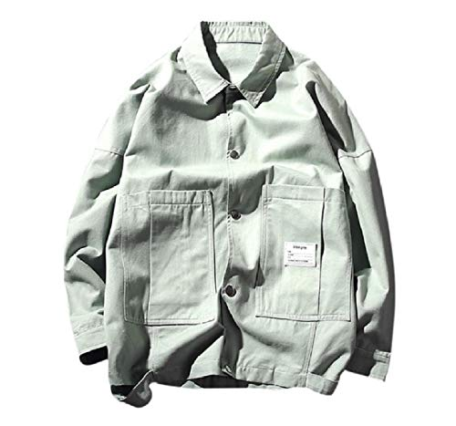 Howme-Men Big Pockets Buckle Solid Autumn Stylish Casual Bomber Jacket Green