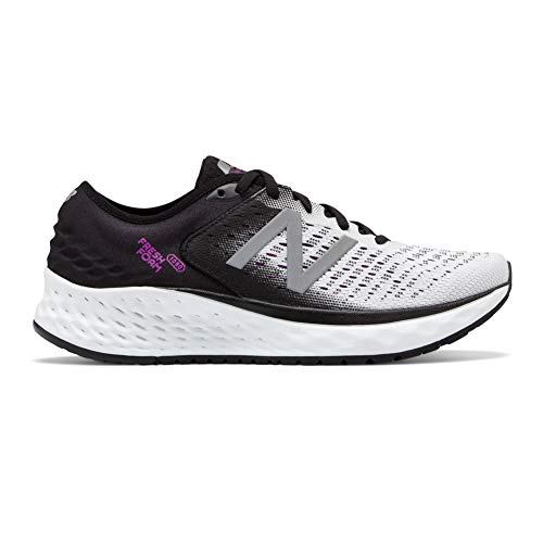 New Balance Women's 1080v9 Fresh Foam Running Shoe, White/Black/Voltage Violet, 8 M US