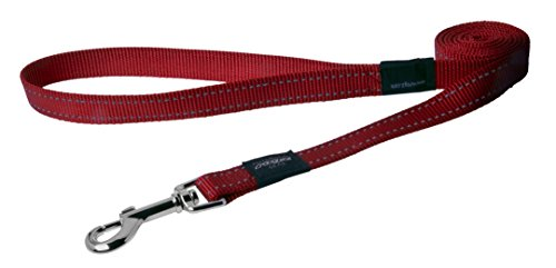 Reflective Dog Leash for Extra Large Dogs, 1 wide, 6 long, Red