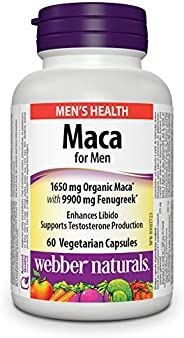 Webber Naturals Maca for Men, Vegetarian Capsule, 1,650 mg Organic Maca with 9,900 mg Fenugreek, 60 Count