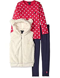 Girls' 3 Piece Faux Fur Hooded Vest, Polka Dot Shirt, and Legging Set