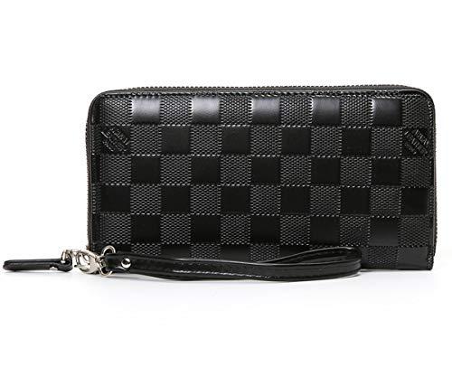 Women's Checkered Zip Around Wallet and Phone Clutch - RFID Blocking with Card Holder Organizer -PU Vegan Leather (Black)