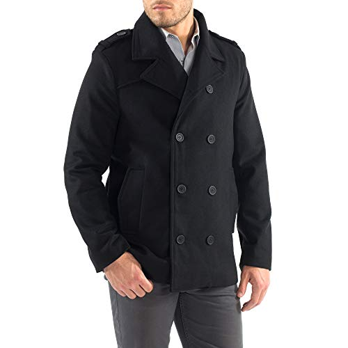 6f9e7ff1b9 alpine swiss Jake Mens Wool Pea Coat Double Breasted Jacket Black Med
