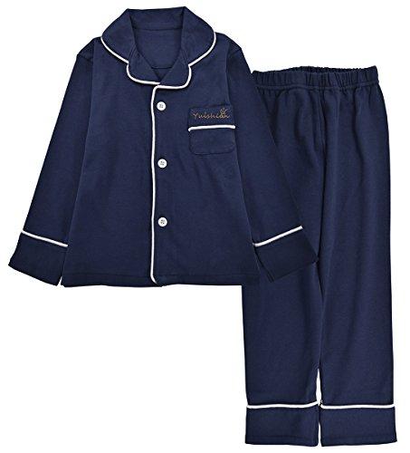 JOYTTON Kids Cotton Pajamas Set PJS Long Sleeve Button-Down Sleepwear Loungewear
