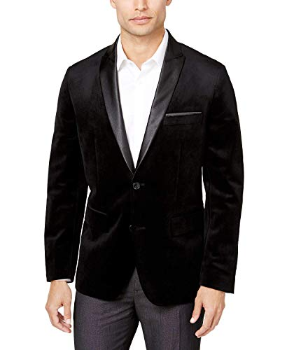 - WINTAGE Men's Premium Velvet Notch Lapel Tuxedo Coat Blazer Jacket: Black, M