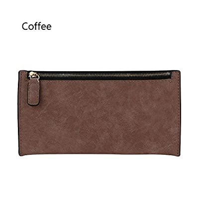 Handbag Storage Bag Zipper PU Leather Long Purse Women Wallet (color - coffee)