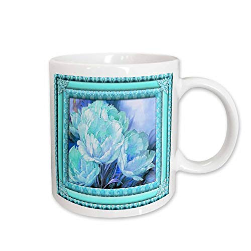 3dRose Spiritual Awakenings Flowers - Aquas and blues flowered frame floral art - 15oz Two-Tone Blue Mug (mug_108106_11)