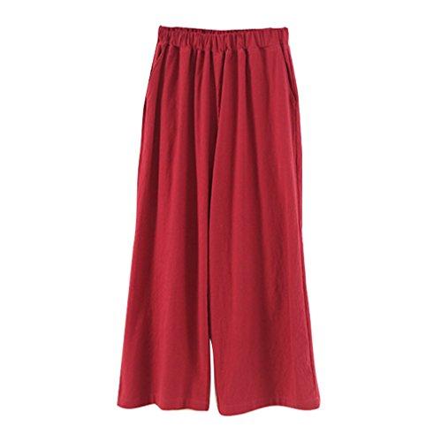 Femme Jambe Large Pantalons - Mode Solide Couleur Lache Pantalon Confortable Taille Elastique Cheville-Longueur Leggings Casual Bureau OL Pantalons Vin Rouge