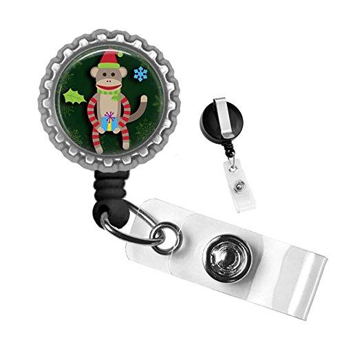 Christmas Sock Monkey Retractable Badge Reel ID Tag Holder by Geek Badges