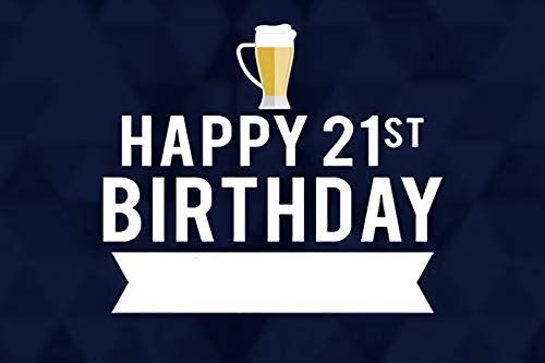 (Baocicco 5x3ft Blue Happy 21st Birthday Photography Backdrop Background Beer Mug Boy Male Man Gentleman Adults Quinceanera Celebration Banner Birthday Party Celebration Photo Studio Vinyl Props)