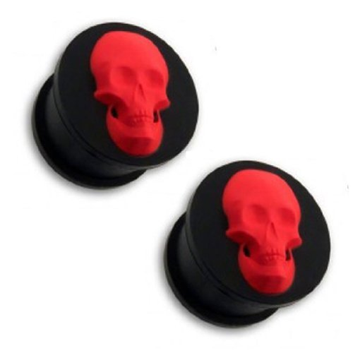 Tunnel 1/2 12mm Black with Red Skull Silicone Flexible Plug with Skull Tunnel Double Flare 1/2 Inch Pair BodyJ4You - Plugs PL6002-12mm